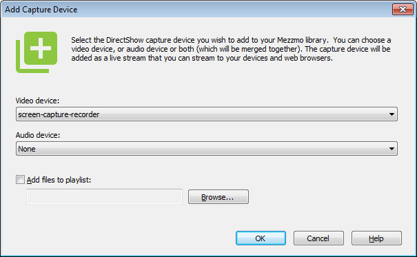 Add Device Capture dialog