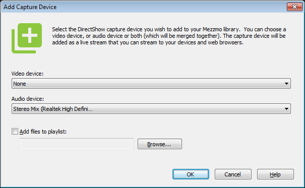 Add Capture Device dialog