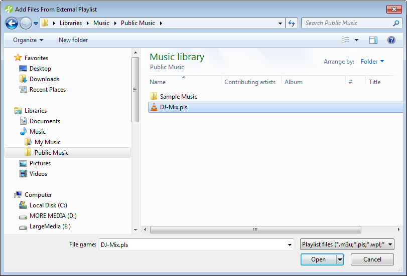 Add Files From External Playlist dialog