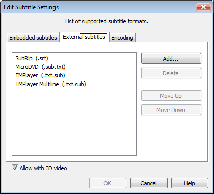 Edit Subtitle Settings dialog