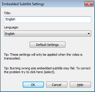 Embedded Subtitle Settings dialog