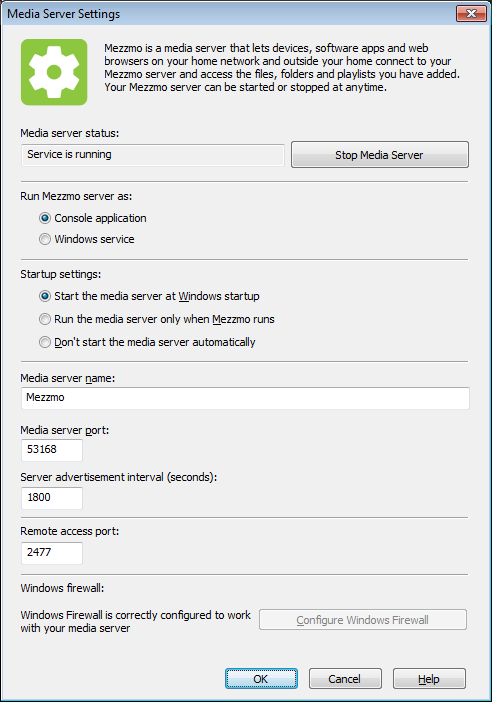 Media Server Settings dialog - Remote Port