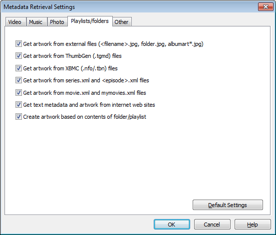 Metadata Retrieval Settings dialog (Playlists/folders tab)