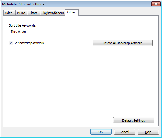 Metadata Retrieval Settings dialog (Other tab)