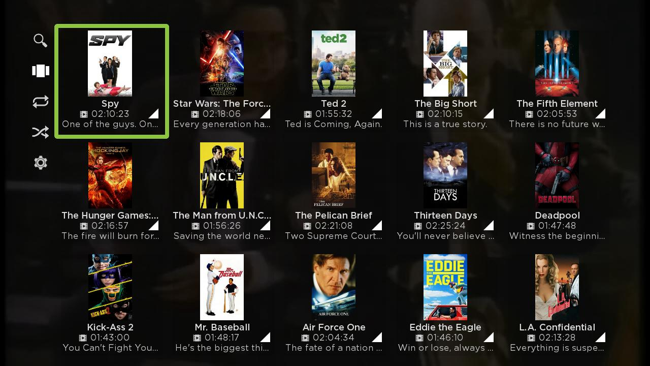 Mezzmo for Roku app - Movies Grid View