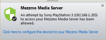 Mezzmo Notify window