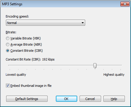 MP3 Settings dialog