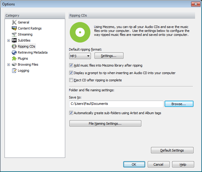 Options dialog (Ripping CDs page)