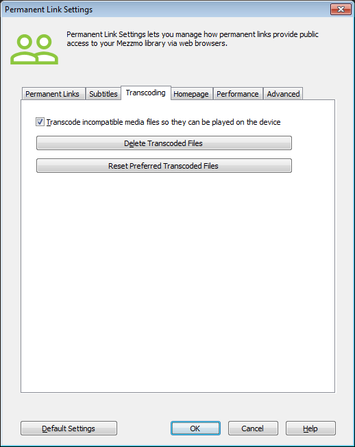 Permanent Link Settings dialog (Transcoding tab)