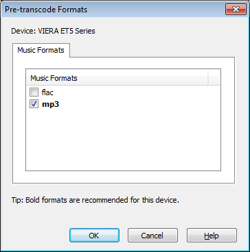 Pre-transcode Formats (Music tab)