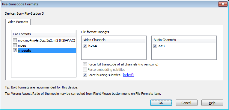 Pre-transcode Formats dialog (Video tab)