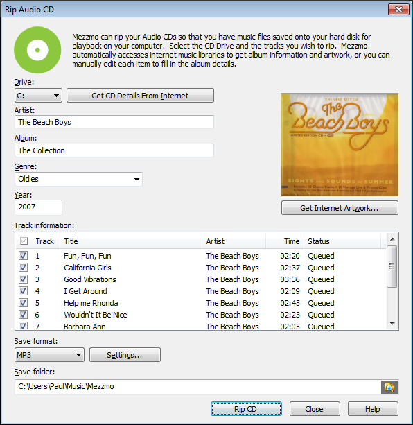 Rip Audio CD dialog