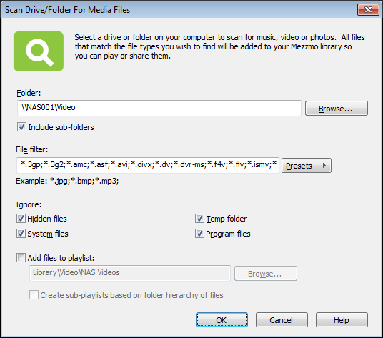 Scan Drive/Folder For Media Files dialog