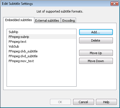 Edit Subtitle Settings dialog (Embedded tab)