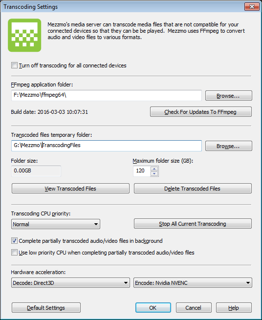 Transcoding Settings dialog