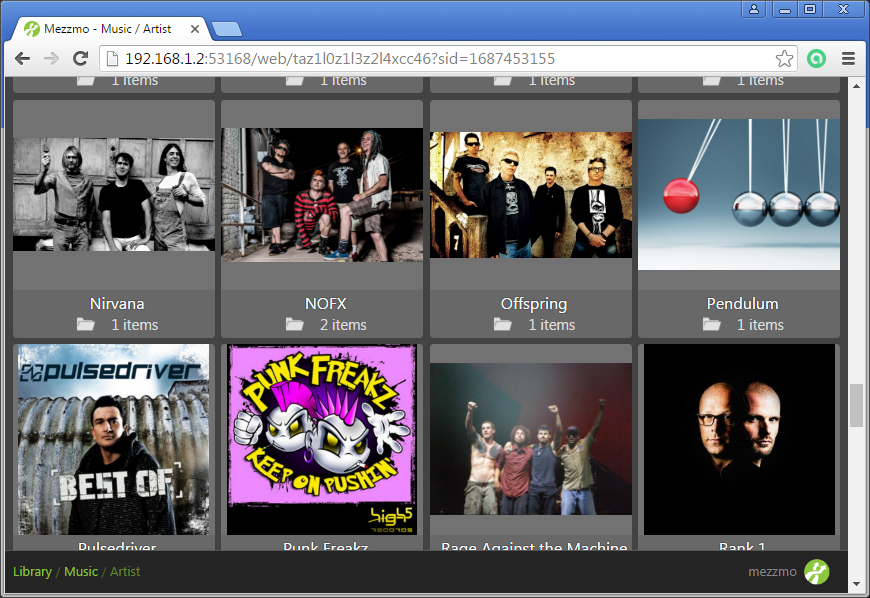 Mezzmo Web Interface - Browsing Music page